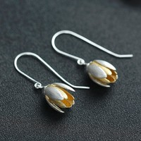 Stunning Tulip Flower 925 Sterling Silver Hook Bud Earrings