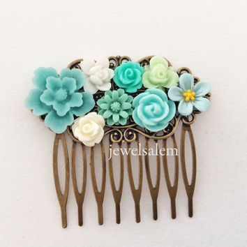 Turquoise Hair Comb Blue Wedding Mint Teal Flower Comb Floral Head Piece Aqua Bridal Hair Comb Bridesmaid Gift For Brides Shabby Chic Boho