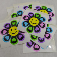 Daisy Sticker Big Large Hippie Boho PLUR Smile Face 90s Stickers 4x4 Laptop Psychedelic Cute Girly Pastel Neon Daisy Floral Big Stickers