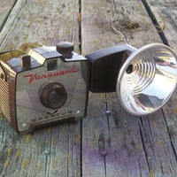 Vintage Spartus Vanguard Camera with Synchonized Flash Brown