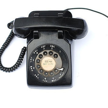 Vintage Rotary Dial Phone, Black Rotary  Desk Phone, Vintage Mid century Phone, Retro Phone, Back To School, Black
