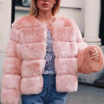 New Pink Faux Fur Round Neck Long Sleeve Fashion Coat