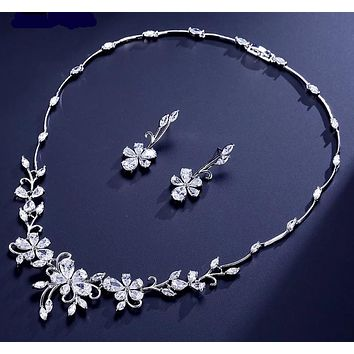 Exquisite Flower Plant Shape Zircon Jewelry Set Elegant Women Earrings Necklace