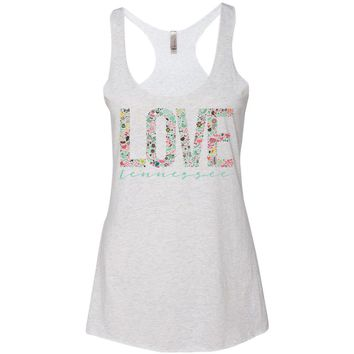 Women's Love Tennessee on a Heather White Racerback Tank Top