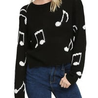 Black & White Music Note Girls Pullover Sweater