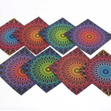 LG 80's Lazer Origami Paper - large 8 inch sheets, crafting supplies, neon party favors, retro spirograph, 1980's craft party