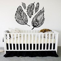 Dream Catcher Decal Feather Sticker Boho Dreamcatcher Wall Decals for Bedroom Nursery Bohemian Bedding Hippie Decor MN949