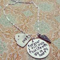 Hand stamped memorial necklace, sterling silver pendant, remembrance necklace, loss , customized and personalized
