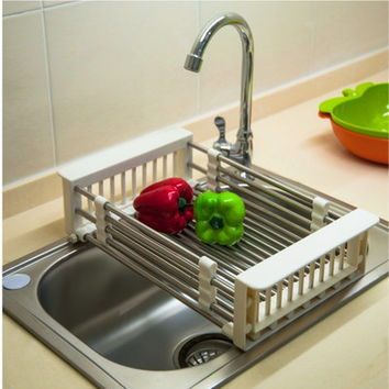Above Edge Adjustable Dish and Produce Drainer