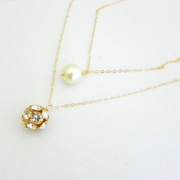 Gold Filled Double Strand Necklace, Rhinestone Ball, Single Pearl Necklace, Minimalist Layer Necklace, Delicate Jewelry, Bridesmaids Gift.