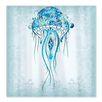 Pretty Blue Jellyfish Shower Curtain> Shower Curtains> CLICK HERE-4 LOWER PRICES-GetYerGoat.com