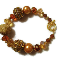 Boho Chunky Fall and Winter Colors of Dark and Light Gold Bead Bracelet 146