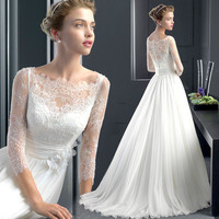 White Chiffon Beach Wedding Dresses Lace 3/4 Sleeves Wedding Gown With Flowers Bridal Gown robe de mariage 45158688