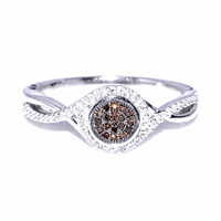 10K White Gold Diamond Promise Engagement Ring 0.18CTTW Brown White Diamonds