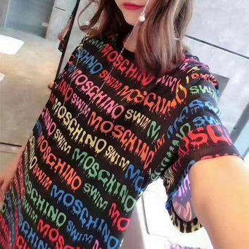 DCCKH3L Moschino' Fashion Casual Multicolor Letter Print Round Neck Short Sleeve T-shirt Mini Dress