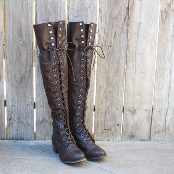 over the knee laced up boots - dark brown