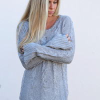 Cable Knit Spring Lightweight Knit {Gray}