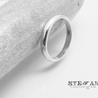 3mm Men's sterling silver halfround ring. Simple ring band.Silver wedding band ring 3mm. Men's sterling silver band. Halfround ring.