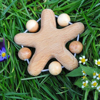 Organic Wooden Teether - Teething Toy - Baby Baby Toys Natural Wooden Toy - Safe Baby Toy - Lovely Star - Juniper Beads
