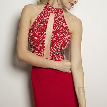 Jovani 24844 Long Open Back Jersey Red Prom Dress