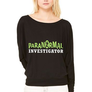 Paranormal Investigator WOMEN'S FLOWY LONG SLEEVE OFF SHOULDER TEE