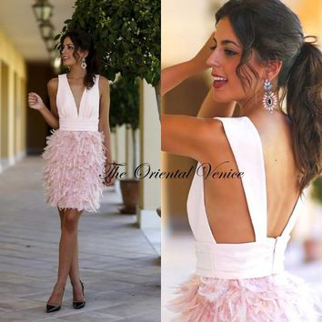 Hot Sale Pink Feather Cocktail Dresses 2017 Sexy Deep V-neck Backless Short Prom Dress Party Gowns Robe de Cocktail Soiree