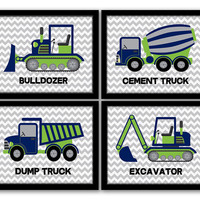 INSTANT DOWNLOAD, Construction Wall Art, Set of 4, Dump Truck, Excavator, Bulldozer, Cement Truck, Boys Room, Kids Wall Art, Navy & Green