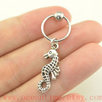 Tragus Earring Jewelry,seahorse Cartilage Hoop,tragus Earring,ear Helix Cartilage jewelry,oceantime