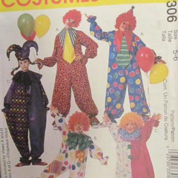 SALE Uncut McCall's Sewing Pattern, 3306! 5-6 Kids/Girls/Boys Clown Costumes/Halloween Costume/Mime Costume/Large Tie/Bow Ties/Ruffle Collar