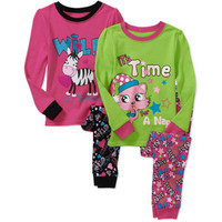 Walmart: Faded Glory Baby Girls' Cotton Tight Fit Pajamas, 2 Sets