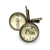 Edgar Allen Poe and Raven Recycled Library Card Word Earrings Patina Brass