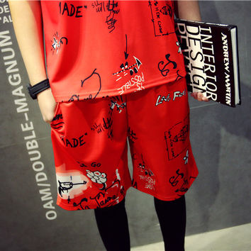 Summer Shorts Men Korean Beach Pants 3D Red Cotton Sportswear [6541181699]