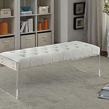 "Meridian Furniture 103Cream Jane Contemporary Style Button Tufted Velvet Upholstered Bench with Lucite Panel Legs, 48.5"" L x 18"" D x 18"" H, Cream"