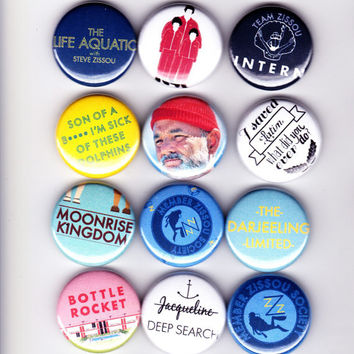 WES ANDERSON badges - set of 12 - rushmore life aquatic steve zissou bill murray Moonrise Kingdom The Darjeeling Limited Royal Tenenbaums