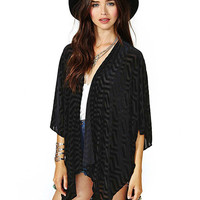 Black Sheer Chiffon Kimono With Wave Stripe