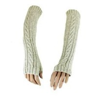 Grey Knitted Wool Fingerless Arm and Hand Warmer Gloves