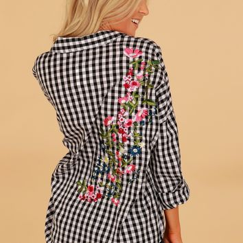 Embroidered Gingham Blouse Black