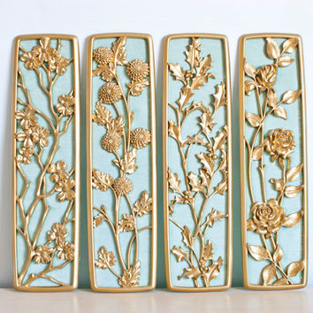 Mid Century Four Seasons Wall Panels, Syroco Dart Industries, Seafoam Green and Gold Wall Hanging Set, Mad Men Hollywood Regency Decor