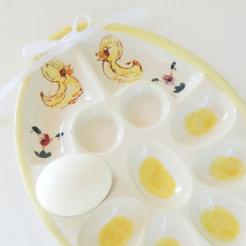 Vintage Egg Plate, Mid Century Kitchen, Deviled Egg Plate, Davar, Vintage, Hand Painted Japan, 7 Slots