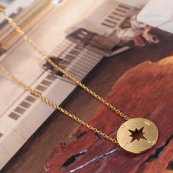 Compass Necklace, Every Side Necklace, Korean Jewelry, Brass Necklace, Vintage Necklace
