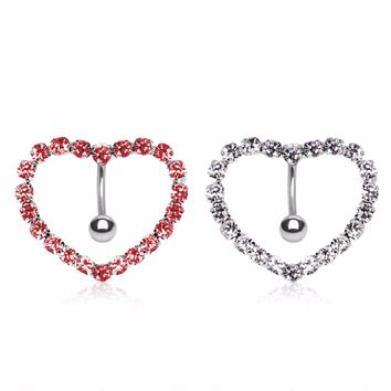 316L Surgical Steel Prong-Set Gemmed Heart Top Down Navel Ring