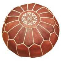 Moroccan Leather Pouf Ottoman with Embroidery in Bohemian Brown