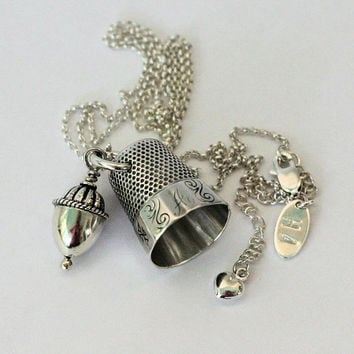 Acorn and Thimble Peter Pan and Wendy Hidden Kisses Necklace in Solid Sterling Silver Hidden Kisses