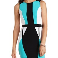 Ribbed Color Block Bodycon Dress