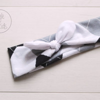 Monochrome Top Knot Headband with White Print Bow Headband Knot Toddler Headband Head Wrap Baby Bow Headband Newborn Knot Headband