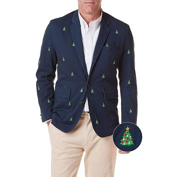 Spinnaker Blazer with Embroidered Christmas Trees by Castaway Clothing