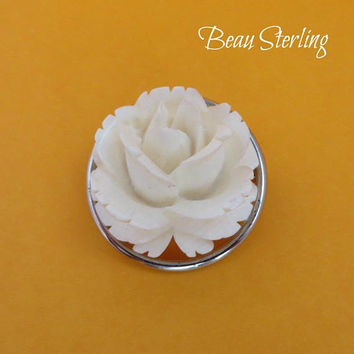 Beau Sterling Rose Brooch - Vintage Sterling Silver, Carved Lucite Rose Pin, Gift for Her