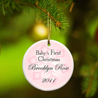 Baby Girl's First Christmas Ornament - Style 1