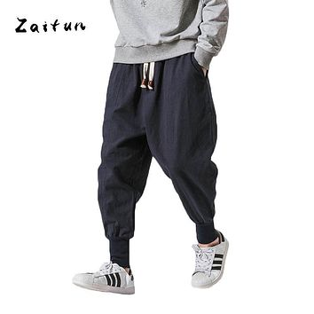 ZAITUN New Harem Pants Me Linen Chinese Traditional Style Drop Crotch Wide Leg Baggy Pencil Pants Hip Pop Casual Brand Trousers