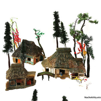1900s Miniature Asian Christmas Village, Pagodas, Foliage, Houses, Antique Japanese Toy